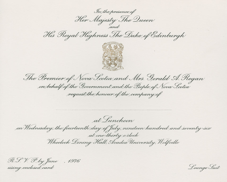 Invitation to luncheon at Wheelock Dining Hall, Acadia University, Wolfville