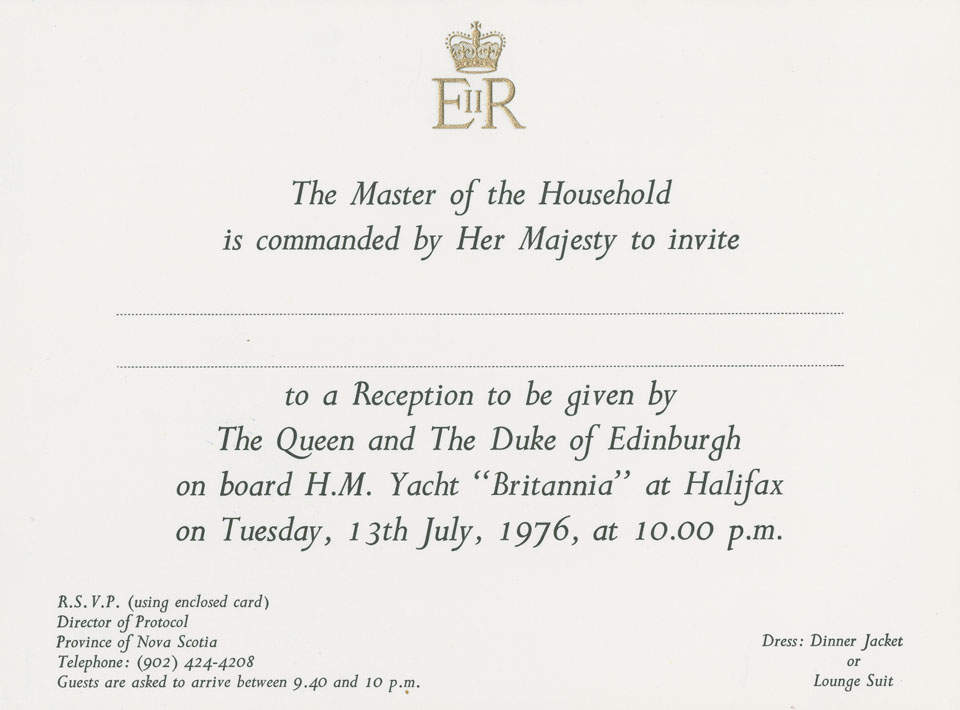 Invitation to attend a reception given by The Queen and The Duke of Edinburgh on board HMY <i>Britannia</i>