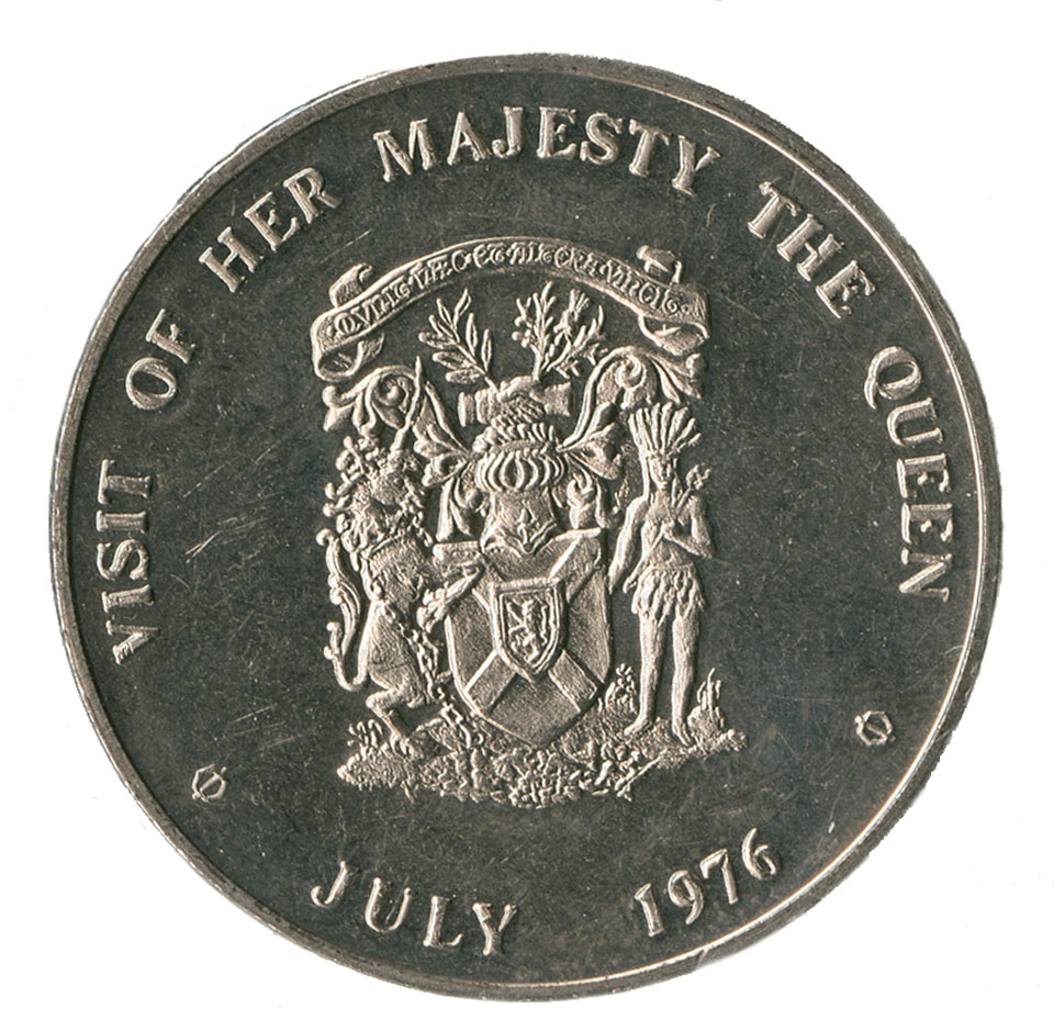 Coin minted for the visit of Her Majesty the Queen to Nova Scotia, July 13-15, 1976