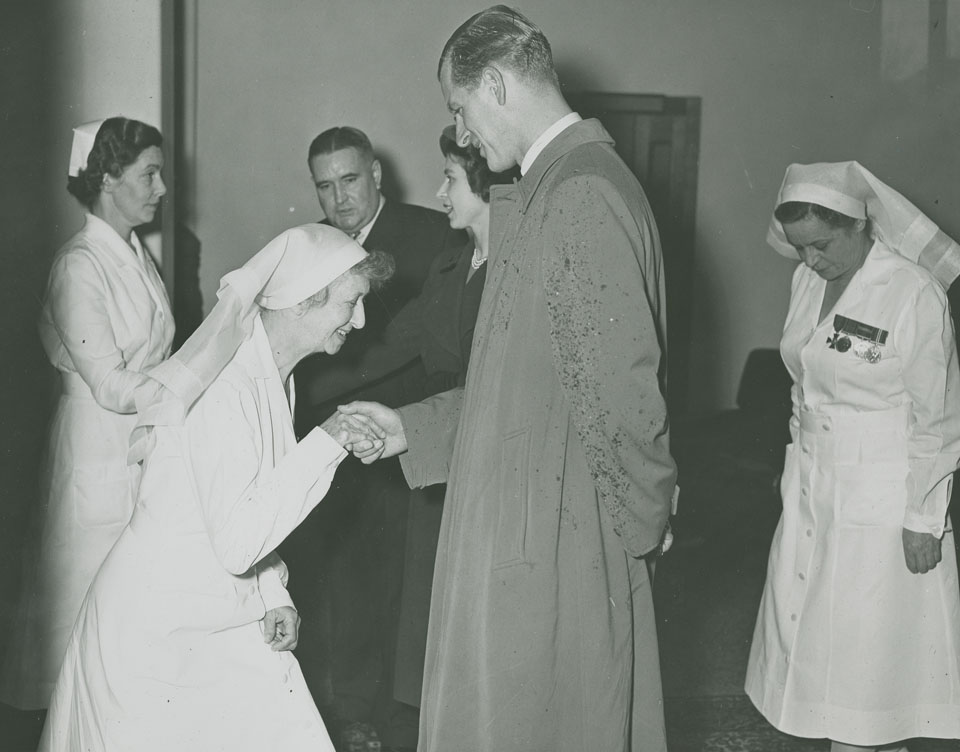 Princess Elizabeth and Prince Philip visiting Camp Hill Hospital