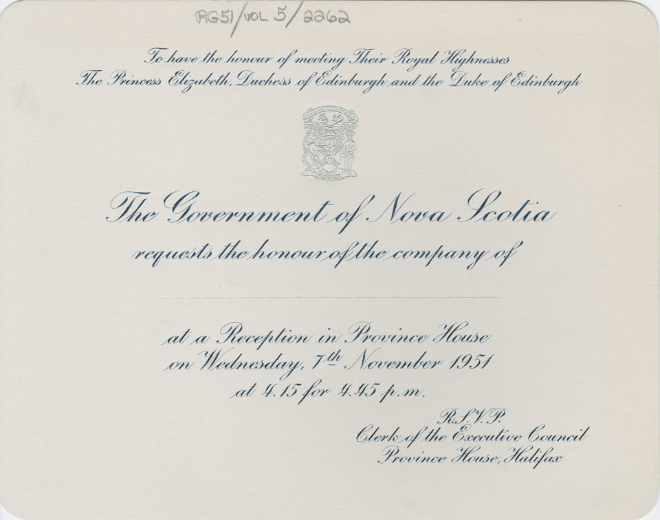 Invitation to Reception in Province House