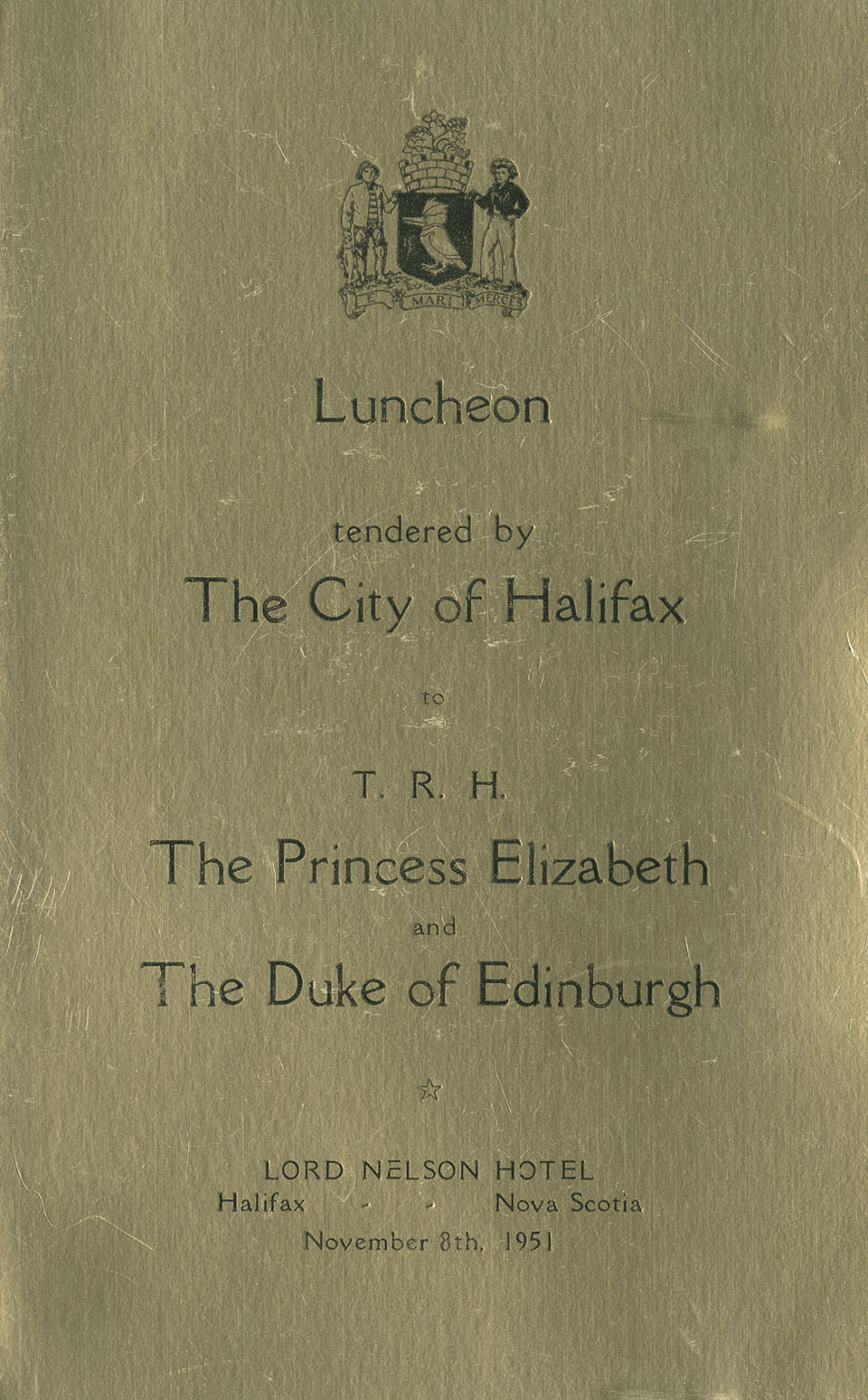 Programme for luncheon held at Lord Nelson Hotel