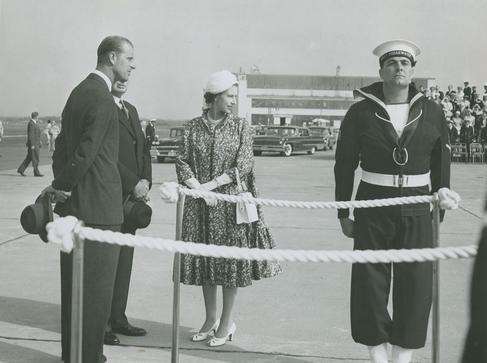 Queen Elizabeth and Prince Philip after the review of the Royal Canadian Navy, Guard of Honour