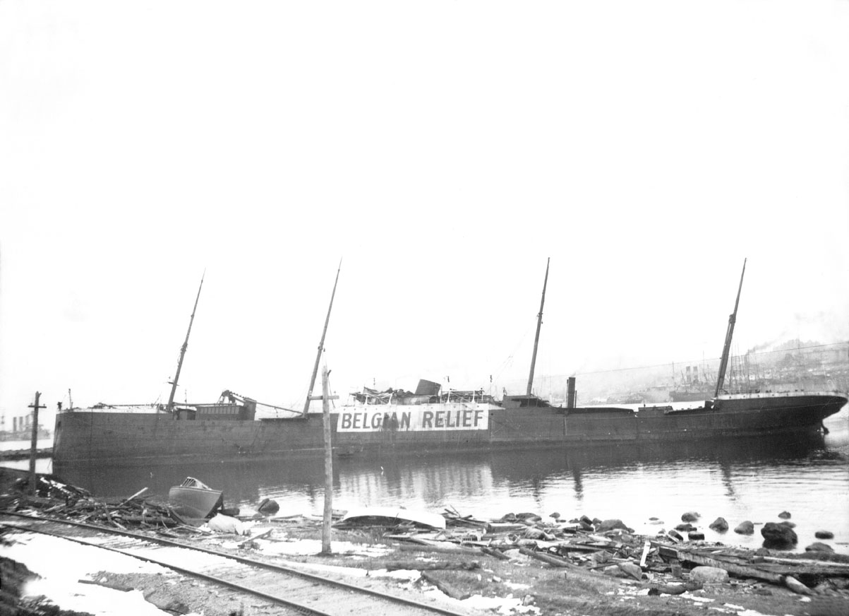 MacAskill : Imo</i> beached, Halifax Harbour after Explosion, 1917