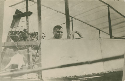 Thomas Selfridge sitting in the <i>White Wing</i> aircraft at Hammondsport, New York