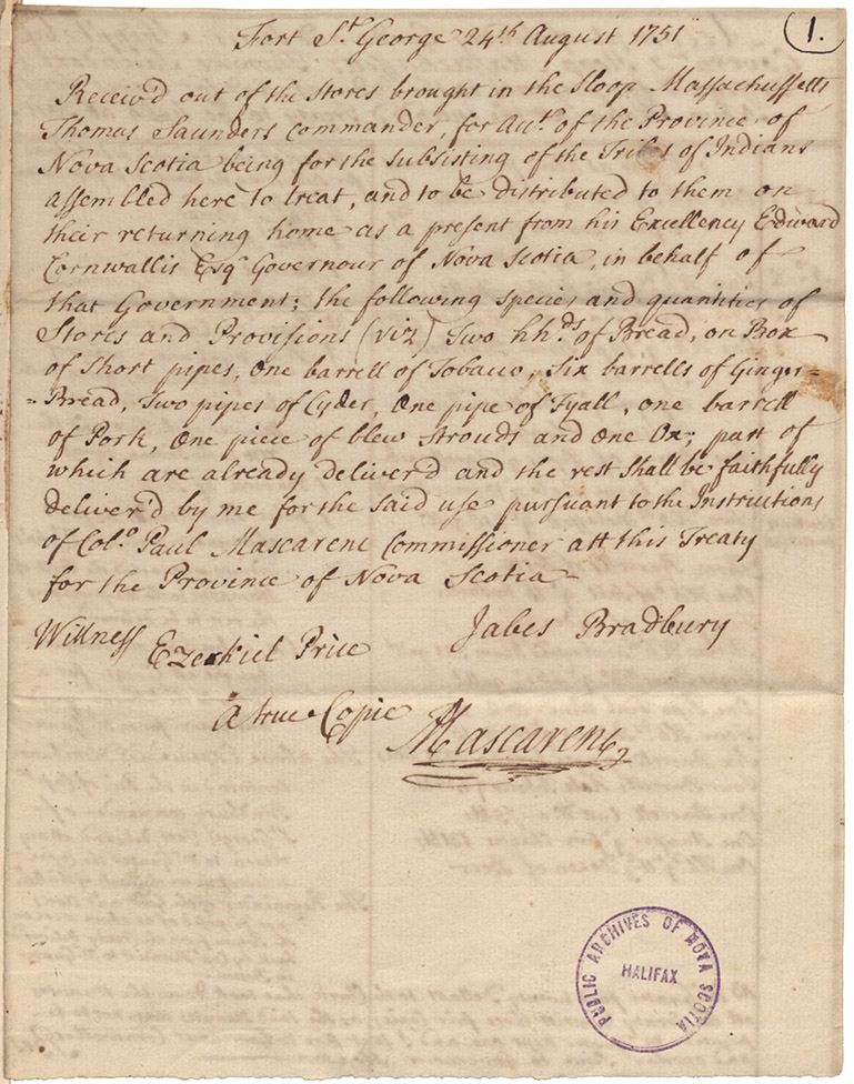 Receipt for supplies received out of the stores brought in the sloop Massachusetts for the