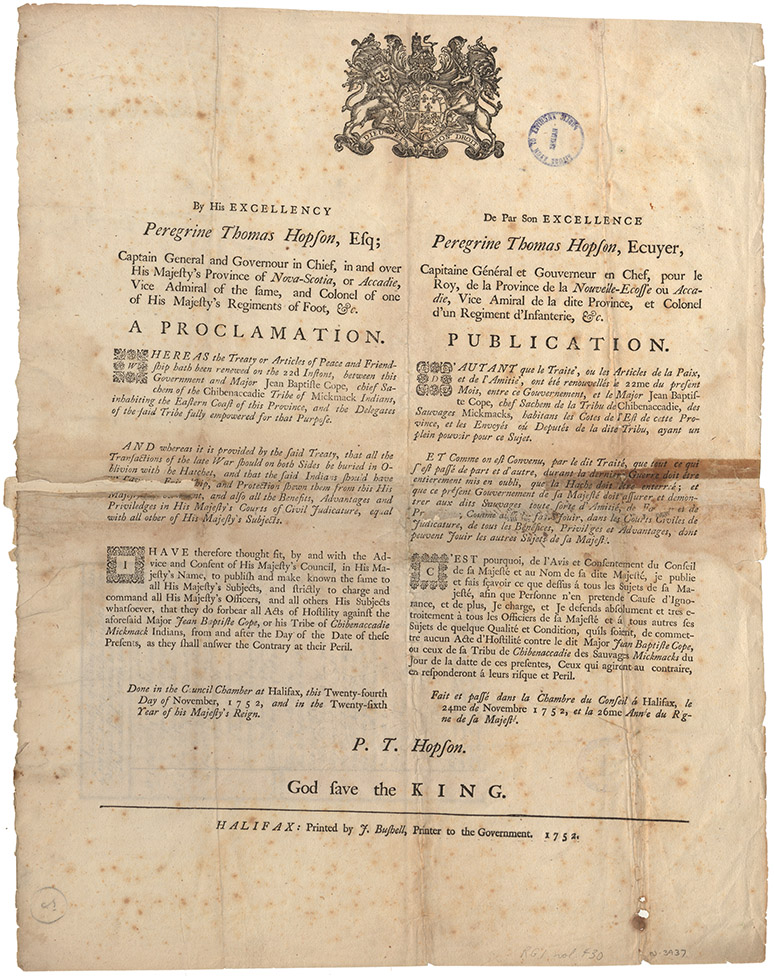 Printed Proclamation of the 1752 Treaty