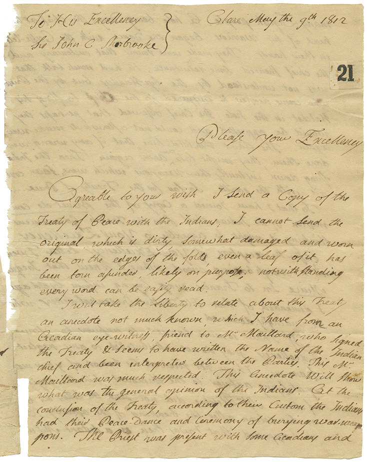 Letter from Sigogne to John Cope Sherbrooke regarding Muis-Belcher Treaty, Maillard, the Mi'kmaq