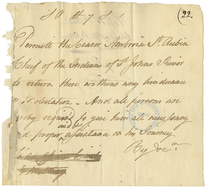 Permission to pass given to Ambroise St. Aubin, Chief of St. Johns River