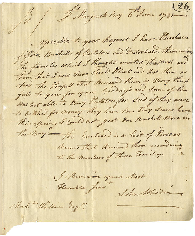 Letter from John Woodin to Wallace regarding bushells of