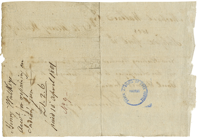 Receipt from Henry Watkeys to Michael Wallace for payment for repairs to a gun belonging to Paul Bonis [Bones?].
