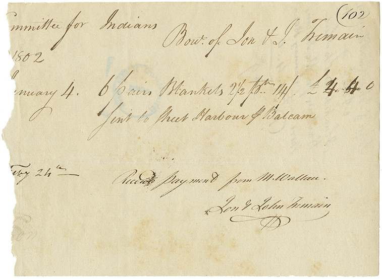 Mikmaq : Receipt from John and J. Tremain for payment received from Commissioners for Indian Affairs for blankets for Mikmaq relief at Sheet Harbour.