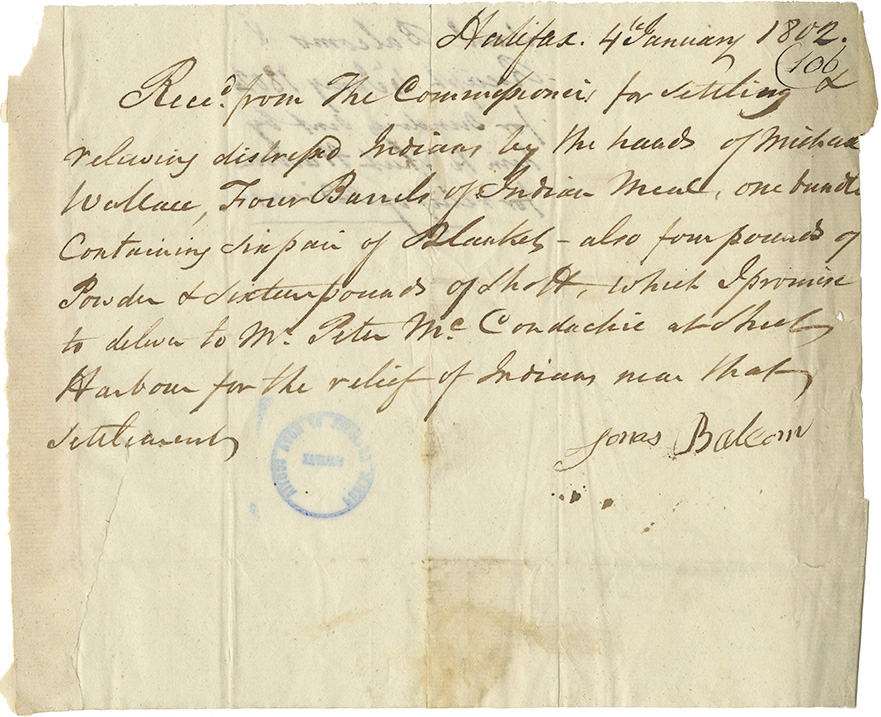Mikmaq : Receipt from James Balcom [?] for sundries sent by him to Sheet Harbour for relief of Mikmaq.