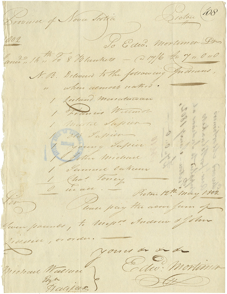 Edward Mortimer's account for blankets supplied to Mi'kmaq at Pictou.
