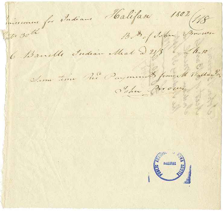 Receipt for payment received from Wallace for John Brown for Indian Meal.