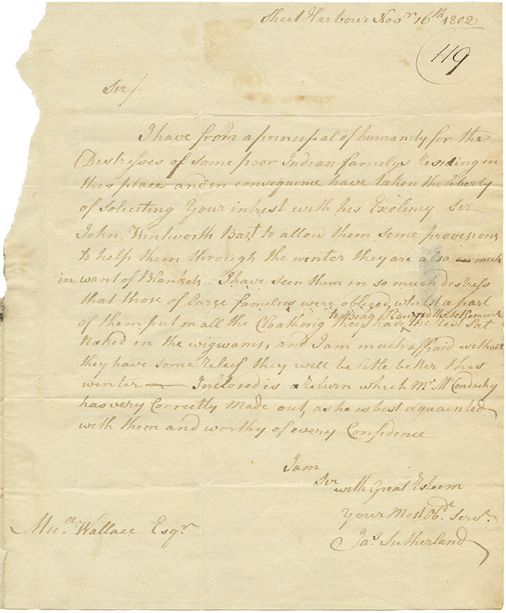 Mikmaq : Letter from James Sutherland to M. Wallace requesting relief for Mikmaq residing in Sheet Harbour.
