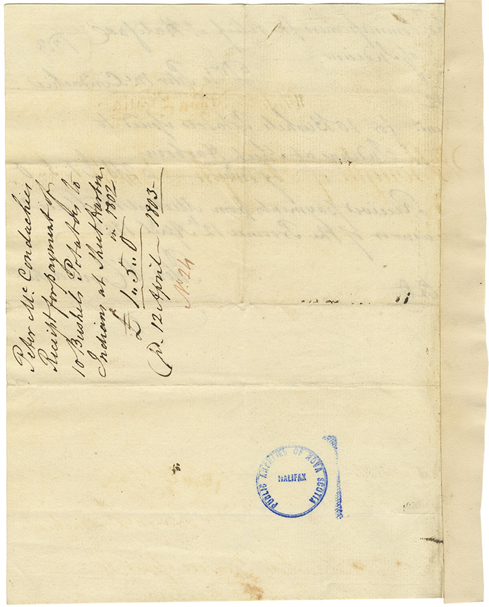 Receipt signed by P. McCondachie for potatoes supplied to the Mi'kmaq at Sheet Harbour. Payment received from M. Wallace.