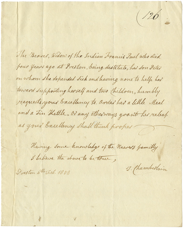 Letter from T. Chamberlain to Wentworth recommending the bearer of the letter, the widow of Mi'kmaq Francis Paul, requesting that she be given a little meal and a tin kettle and any other relief thought proper.