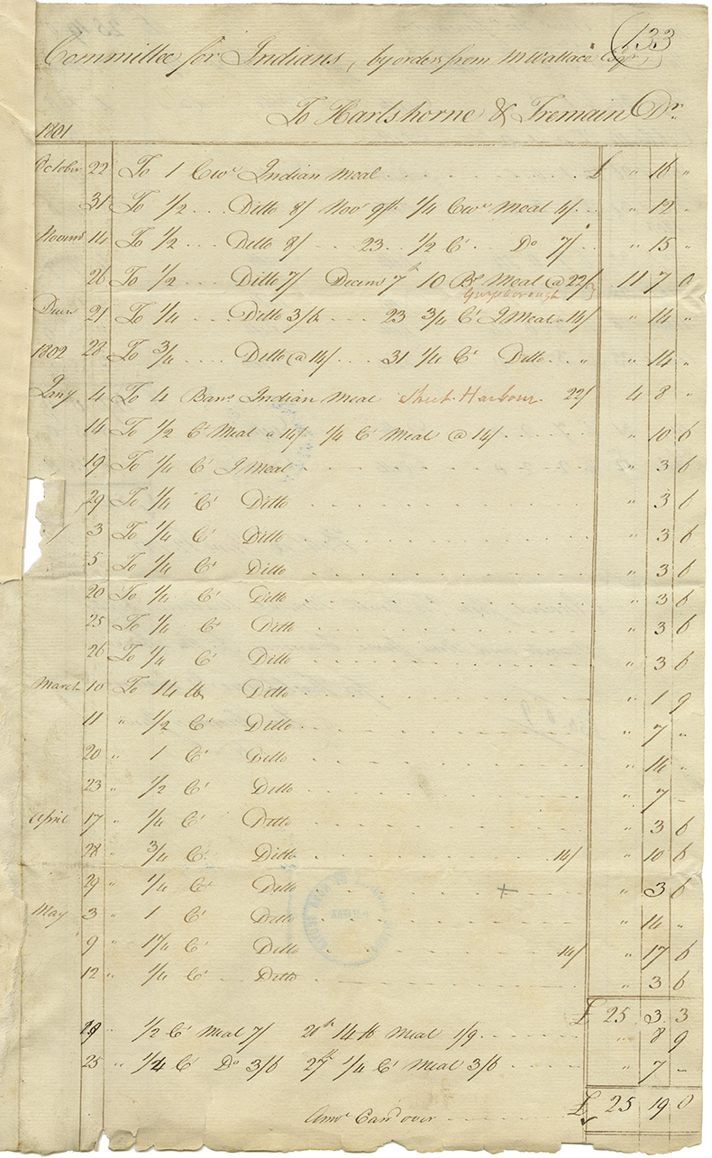 Mikmaq : Account of Hartshorne and Tremain for goods supplied to the Committee for Indians, 1801-1803.