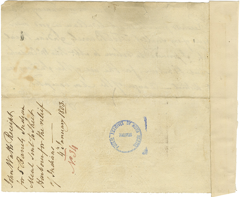 John Watts' receipt for five barrels Indian meal sent to Sheet Harbour for the relief of Mi'kmaq.