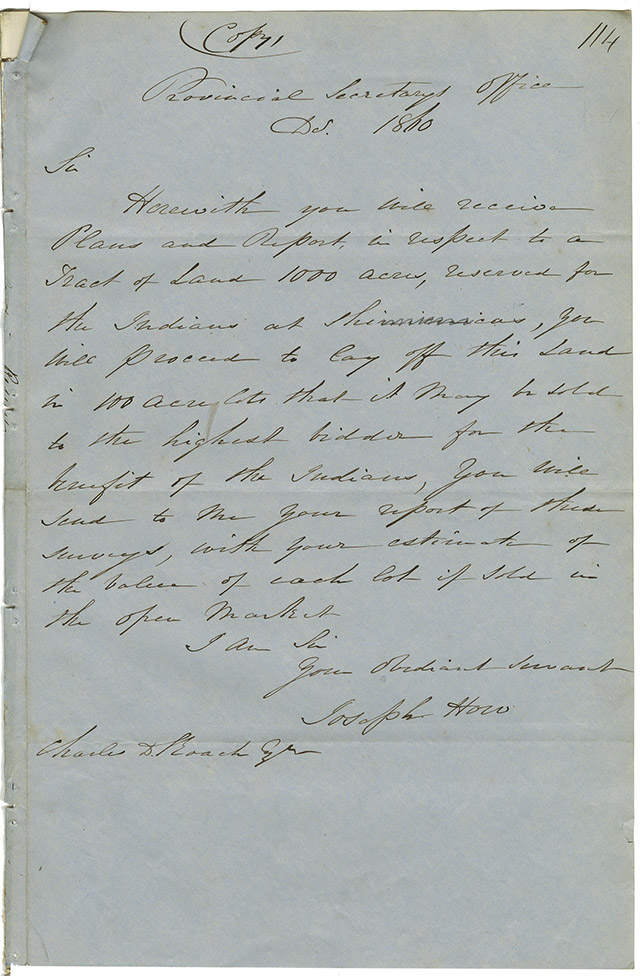Letter from Joseph Howe, Provincial Secretary, to Charles D. roach regarding Shinimacas, requesting it be laid off and sold to the highest bidder.
