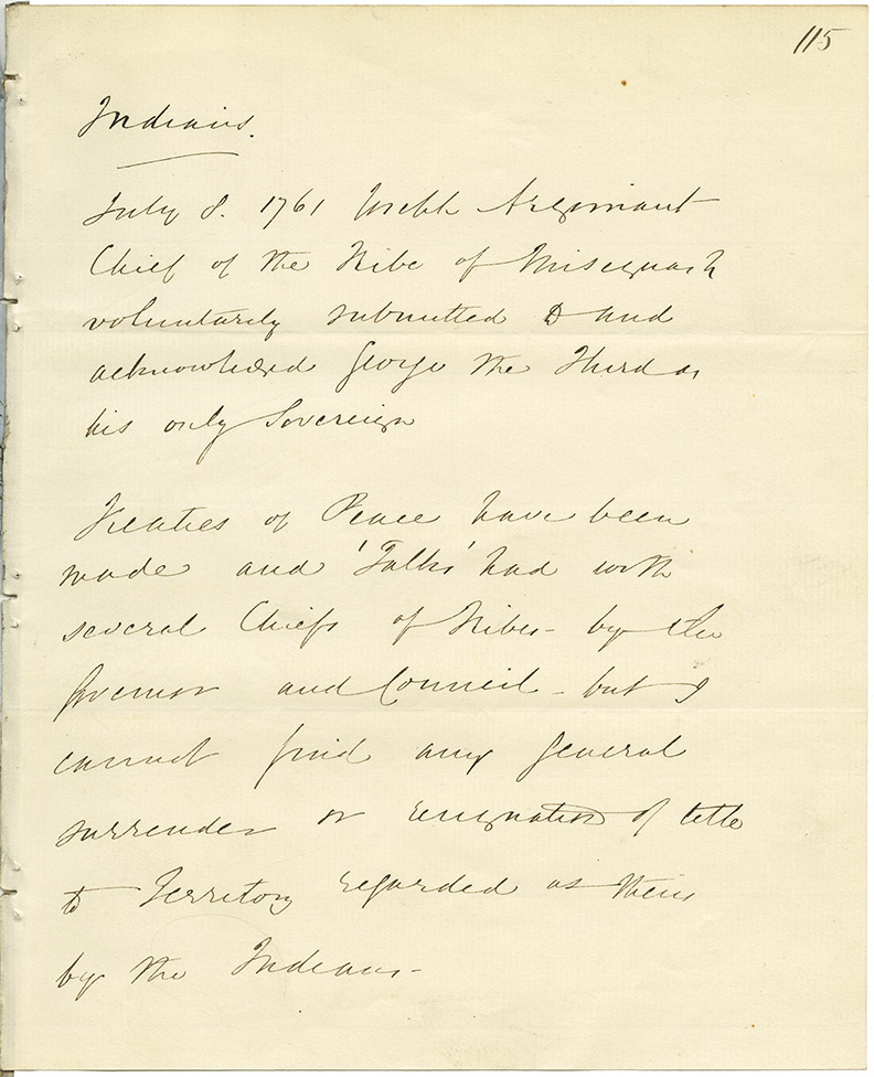 Unsigned memo regarding an agreement made on 7 July 1761 in which the Chief of the Misiguash [Missaguash?] tribe