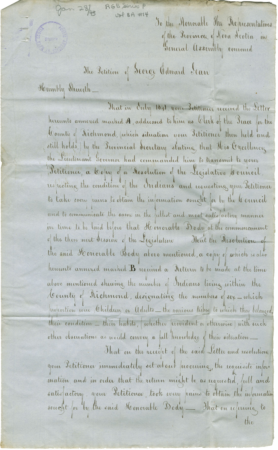 Letter from Rupert D. George, Provincial Secretary's Office, to George Edward Jean regarding a report on the state of the Mi'kmaq in Richmond County.