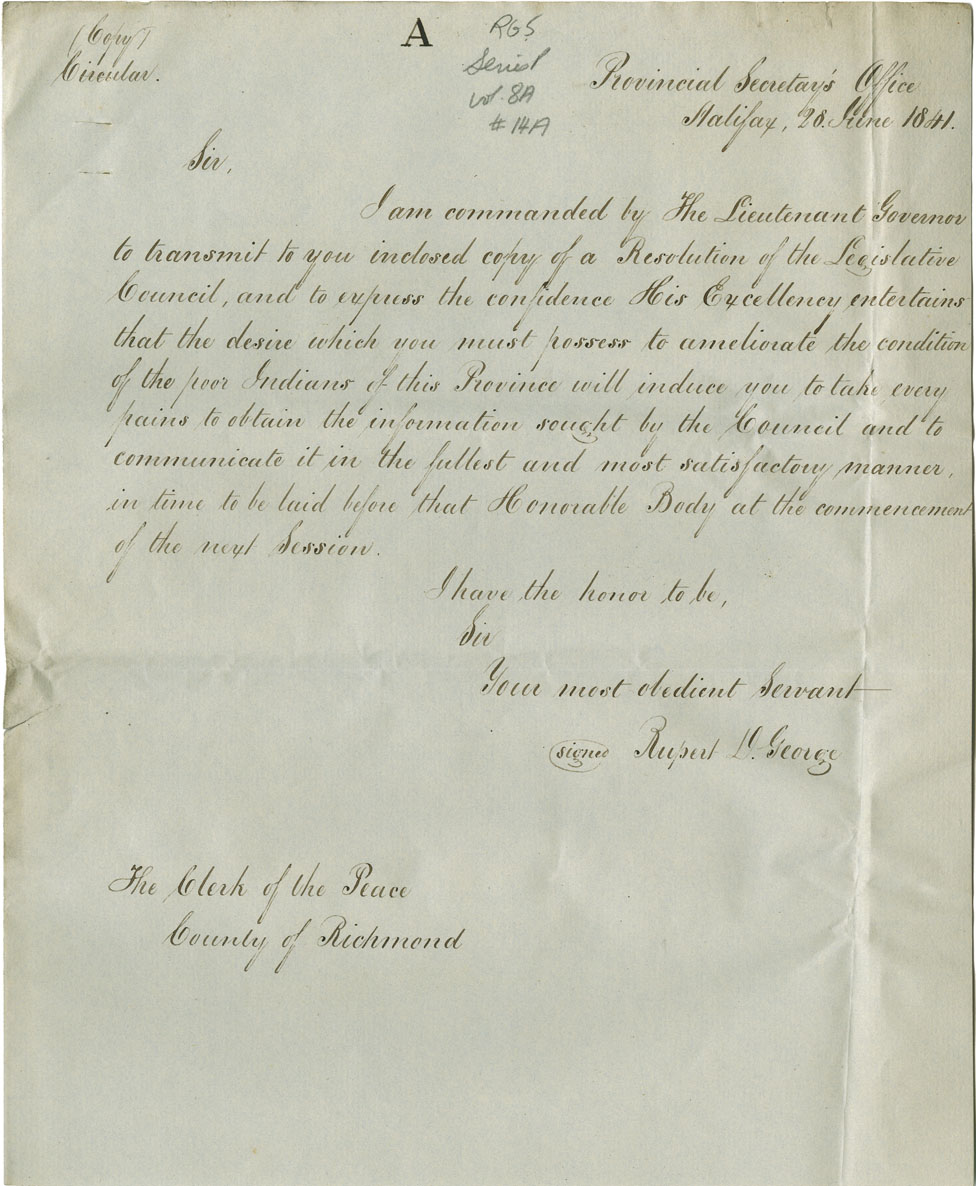 Petition of George Edward Jean for remuneration for expenses suffered when undertaking to report on the state of the Mi'kmaq at Richmond County in 1841.