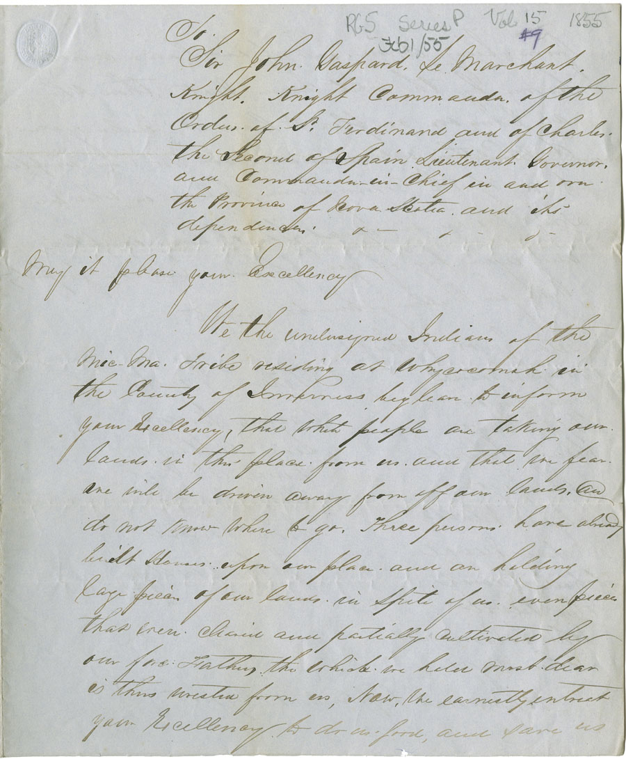 Petition from the Mi'kmaq at Whycocomagh regarding white men taking over their lands.