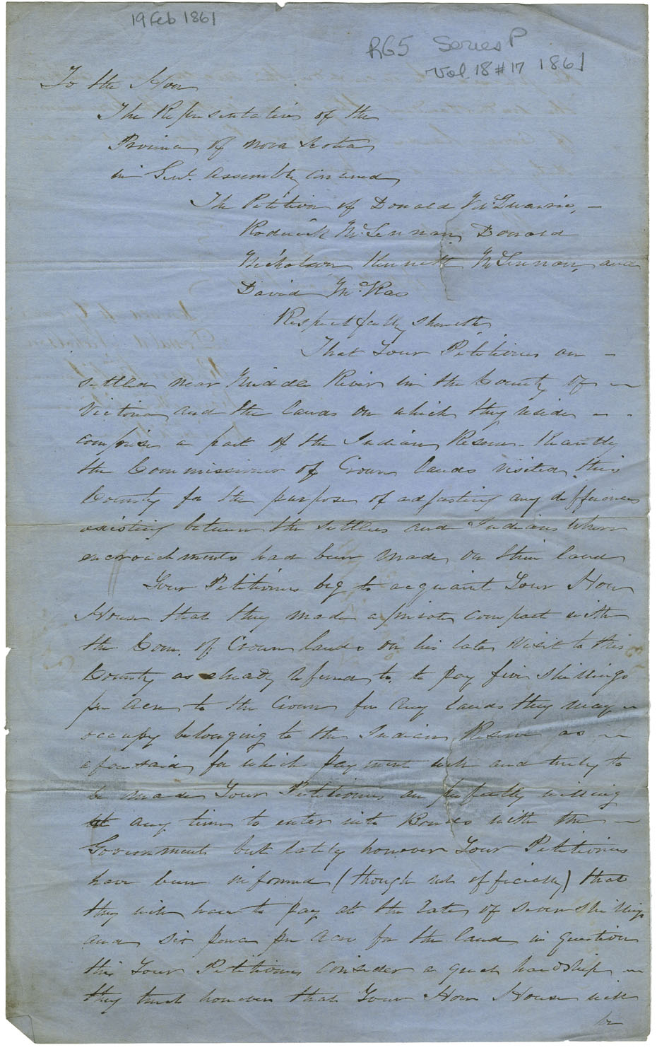 Petition of Donald McQuarrie and four others settled on Mi'kmaq land in Middle River, Victoria County, praying for a consideration of the Report of the Committee on Indian Affairs of the year before [i.e. 1860].