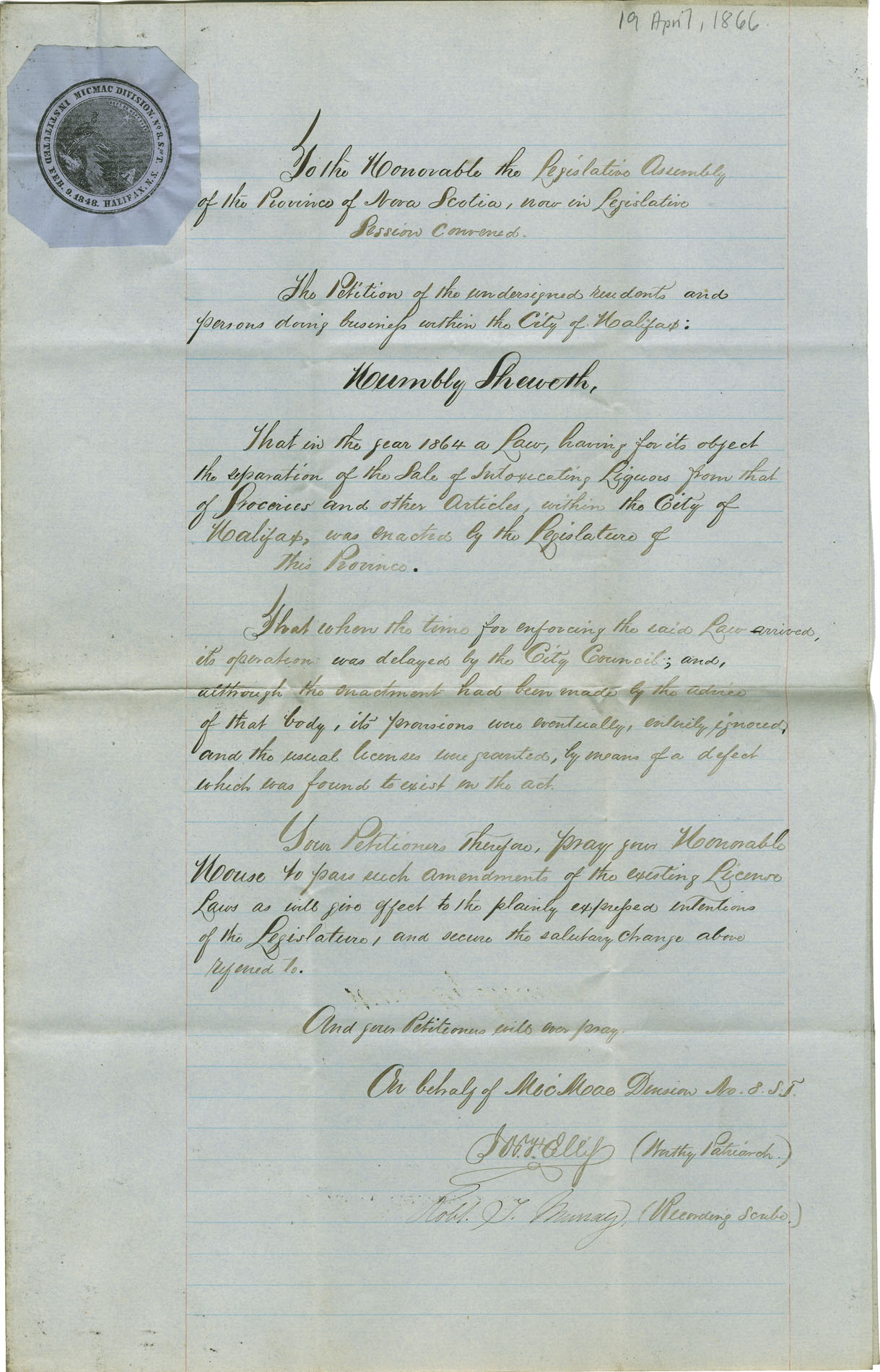Temperance petition from the Micmac Division of the Sons of Temperance, Halifax.