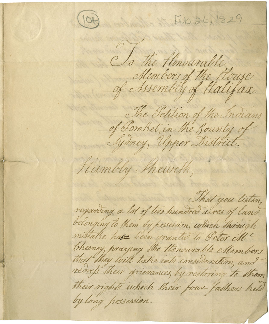 Petition from the Mi'kmaq at Pomquet, Antigonish County, regarding a land dispute.