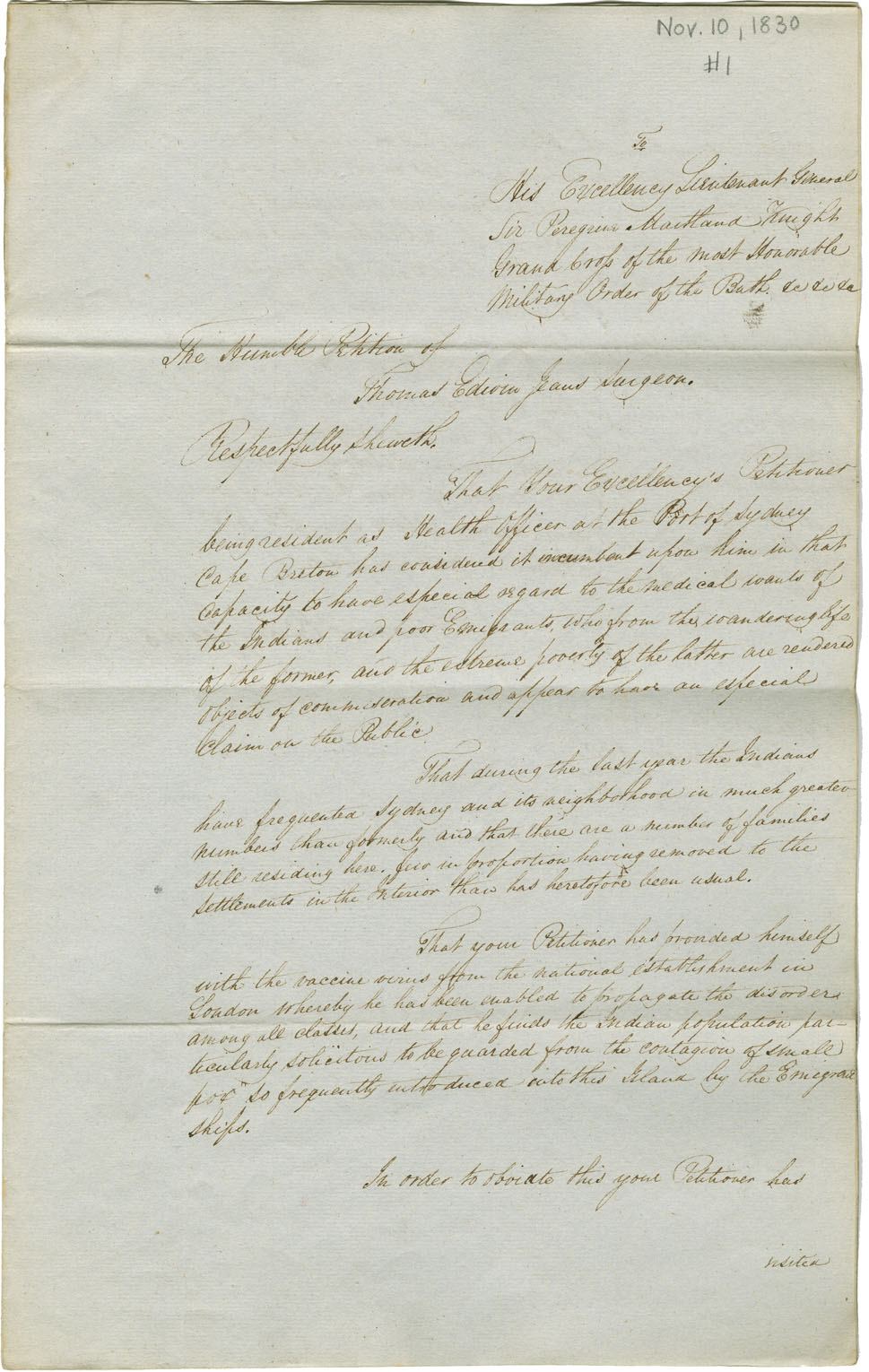 Petition of Edwin Jeans, Surgeon and Health Officer at Sydney, Cape Breton, praying remuneration for vaccinating several Mi'kmaq families for small pox.