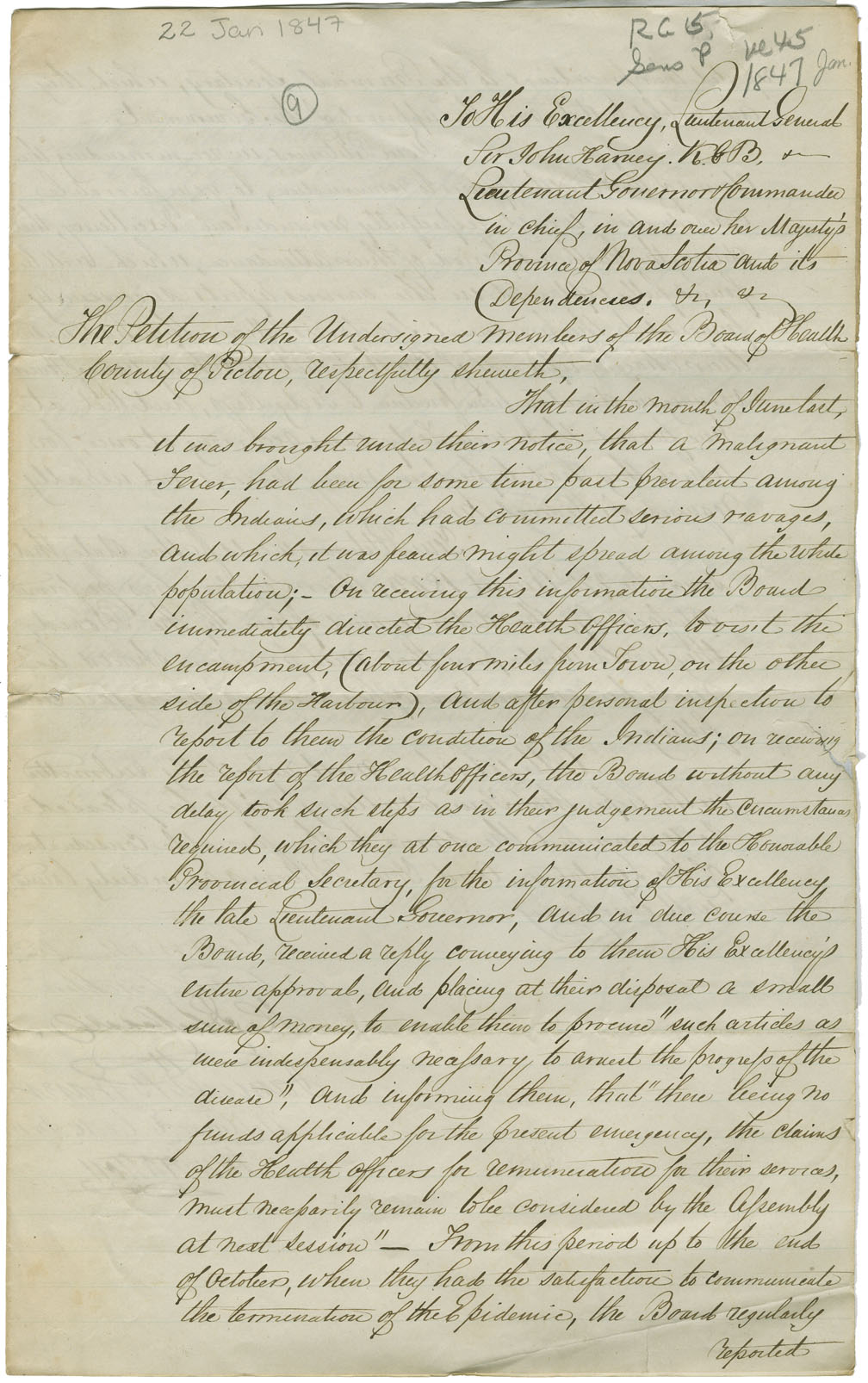 Petition of the Board of Health, Pictou County, recommending the payment of the annexed bill for attending the sick Mi'kmaq.