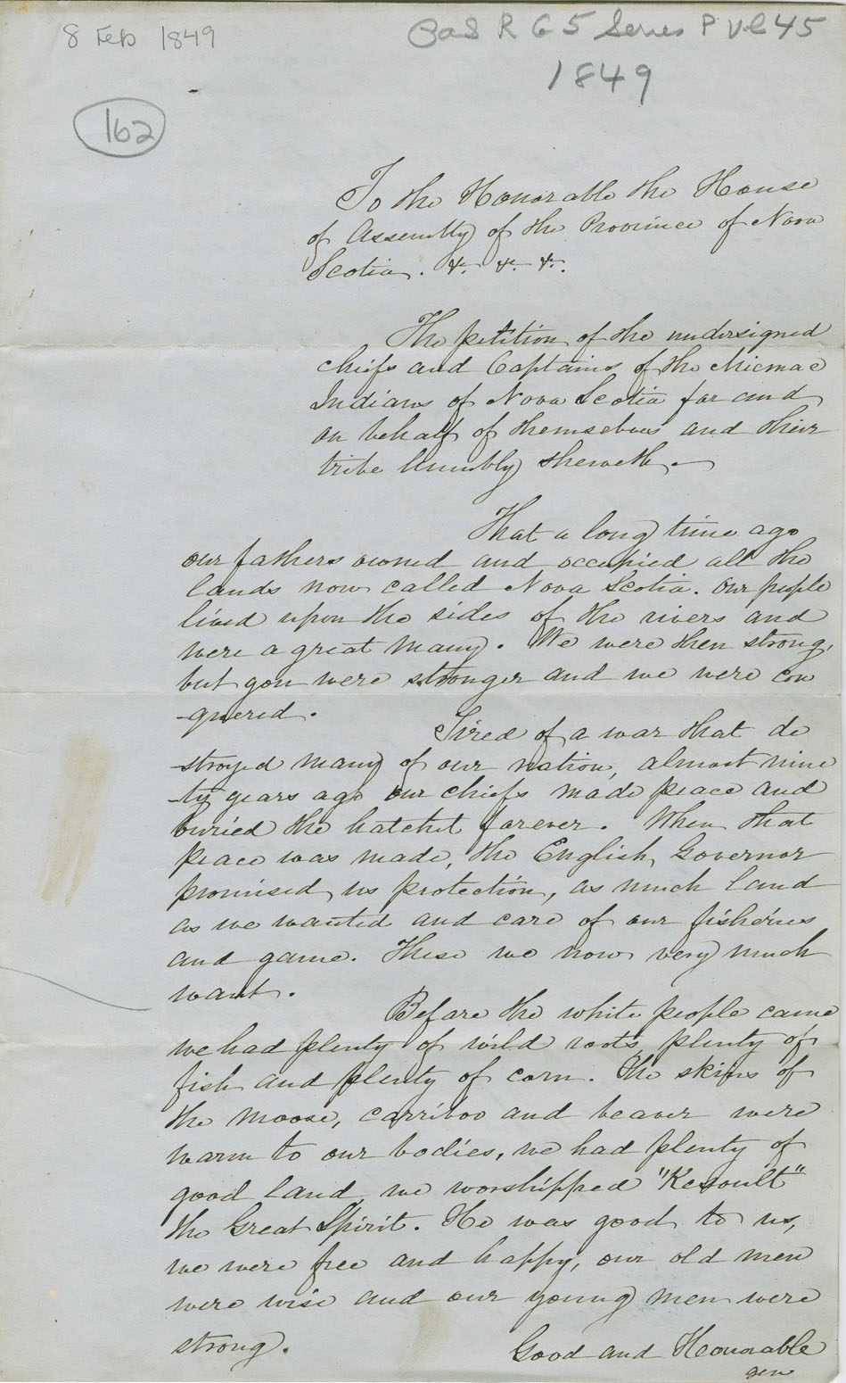 Petition of the Chiefs and Captains of the Mi'kmaq on Nova Scotia for aid to make farms.