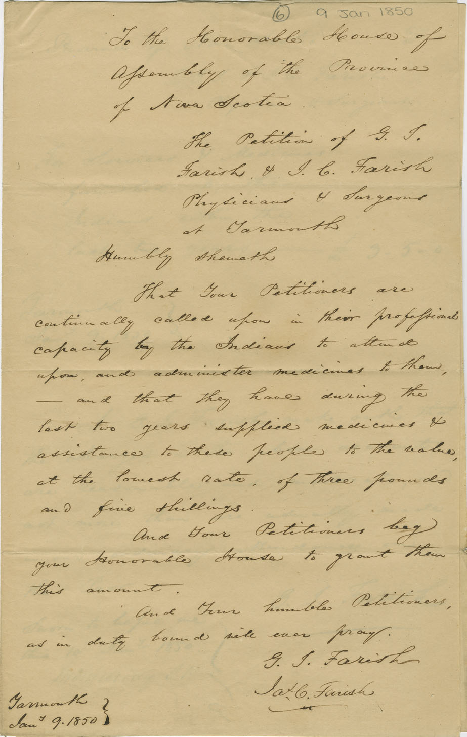 Petition of G.J. Farish and J.C. Farish, physicians of Yarmouth, for remuneration for medical attendance on the Mi'kmaq.