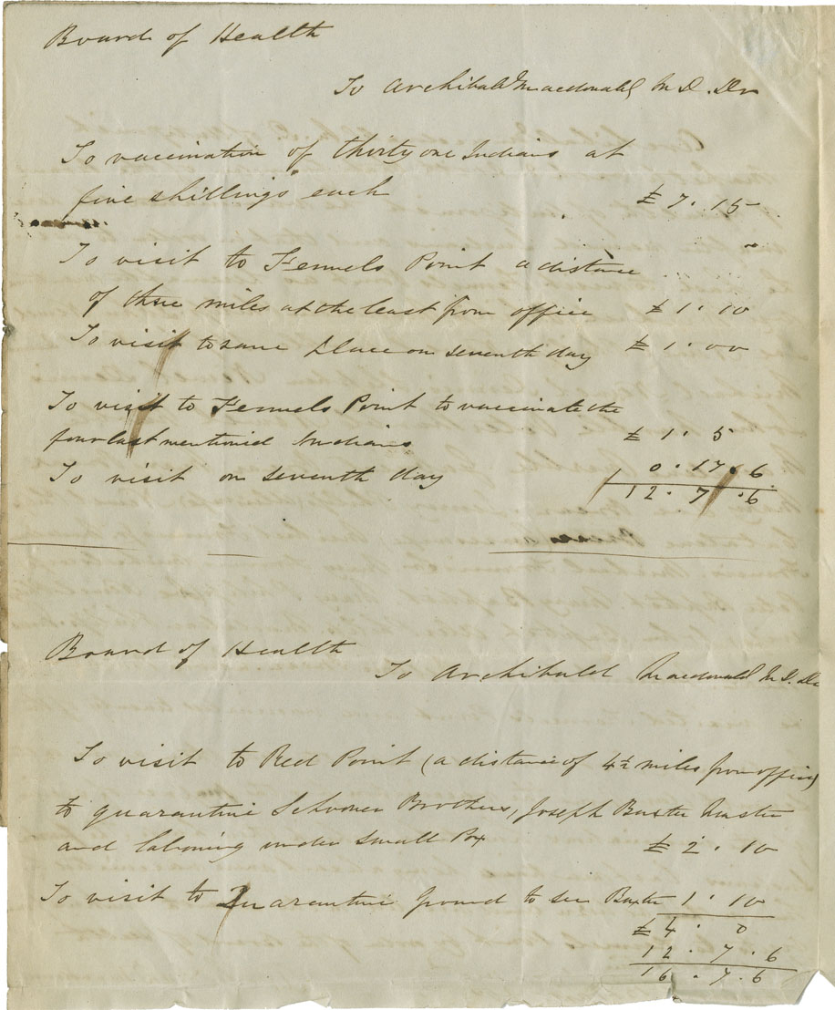 Petition of Archibald McDonald of Antigonish for remuneration for medical attendance and small pox vaccinations to the Mi'kmaq.