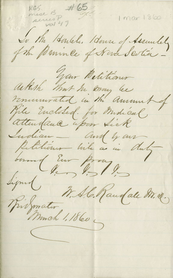 Petition of W.A.C. Randall of Bridgewater for payment for medical attendance on a sick Mi'kmaq.