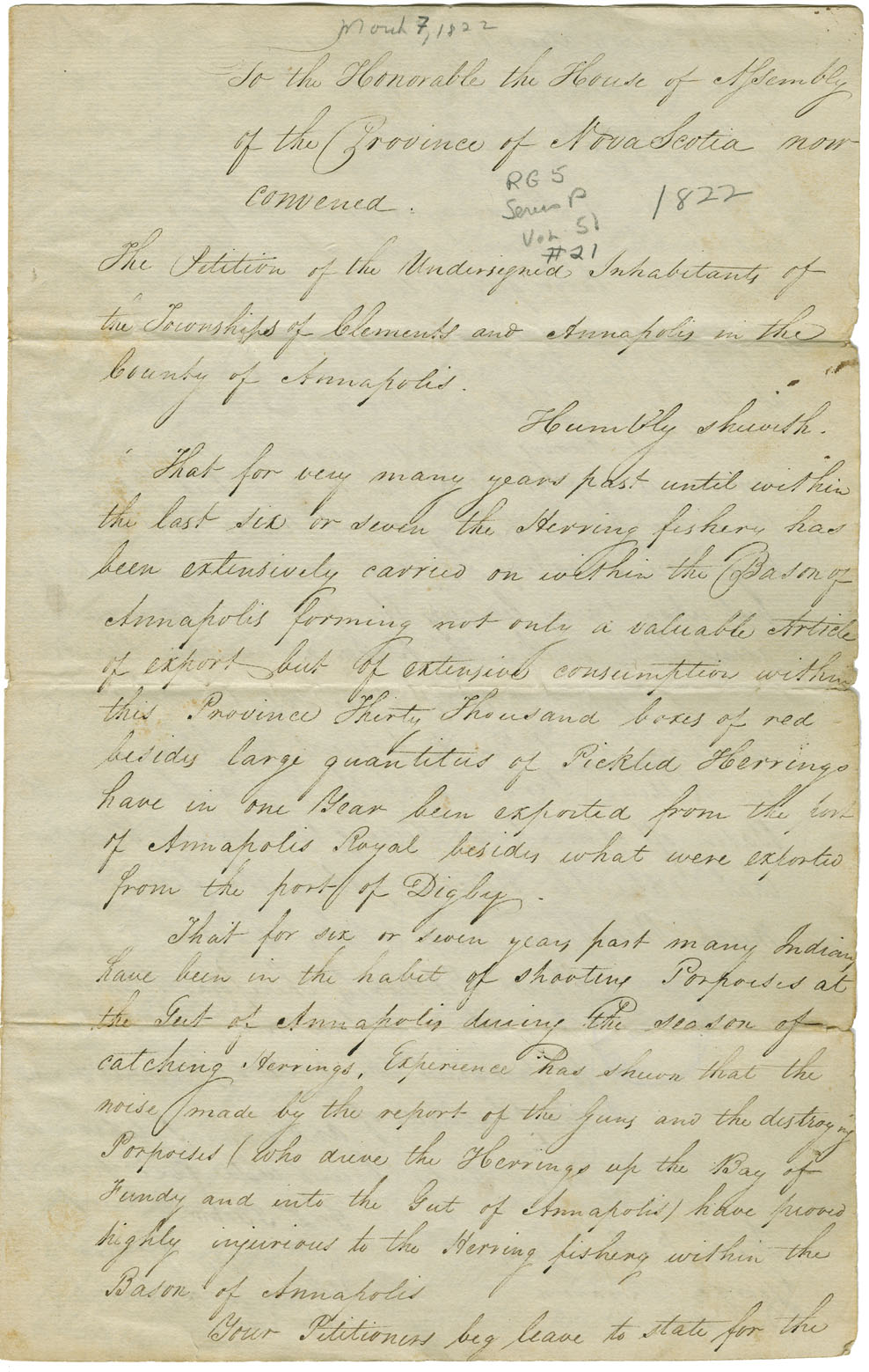 Petition from the inhabitants of Clements and Annapolis requesting measures be taken to prevent the firing of guns by the Mi'kmaq and the killing of porpoises at the Annapolis Gut during the herring fishing season.