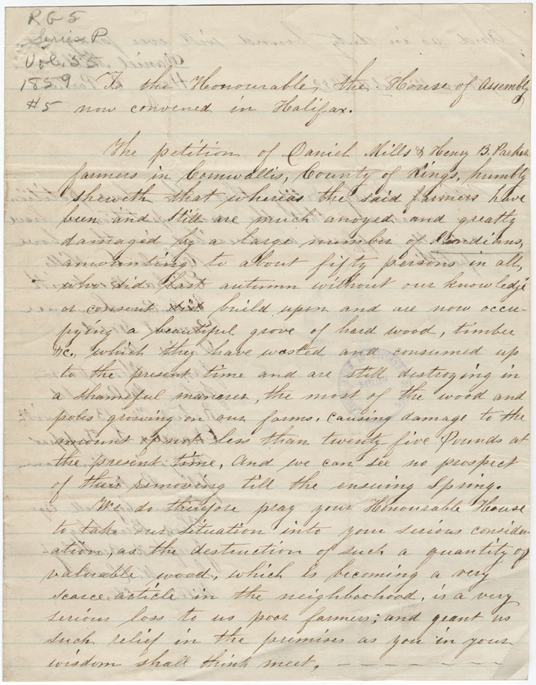 Petition of Daniel Mills and Henry B. Parker of Cornwallis, Kings County, concerning the Mi'kmaq settling on their land.