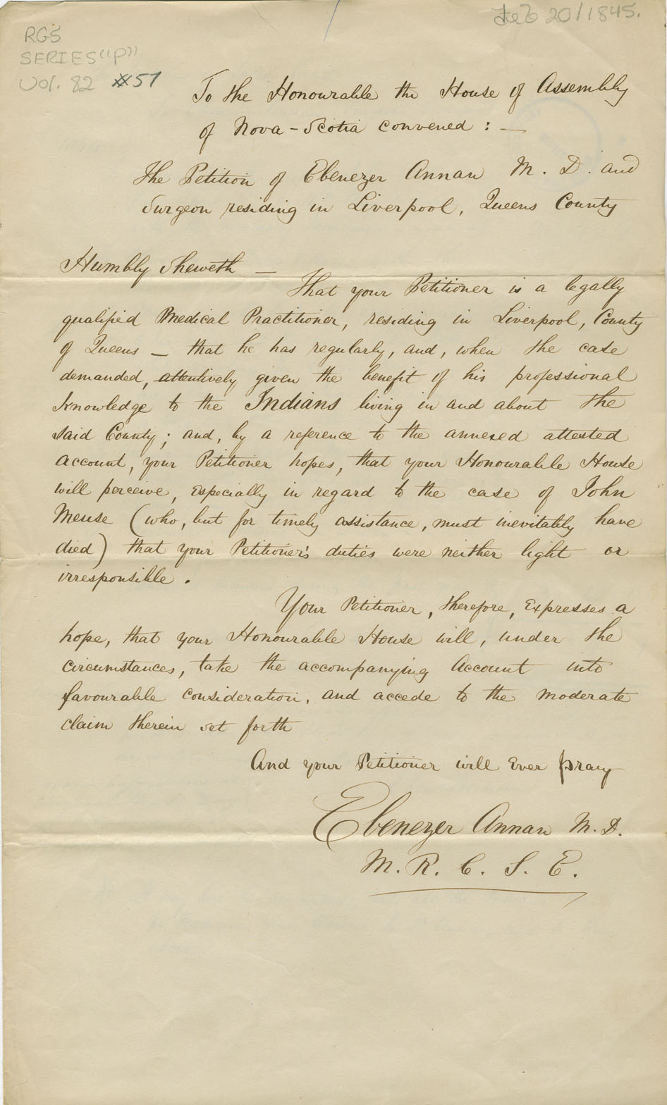 Petition of Ebenezer Annan of Liverpool for the expenses of attending to sick Mi'kmaq.