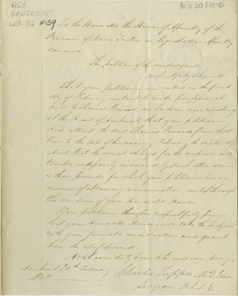 Petition of Charles Tupper of Amherst for payment for medical relief for sick Mi'kmaq.