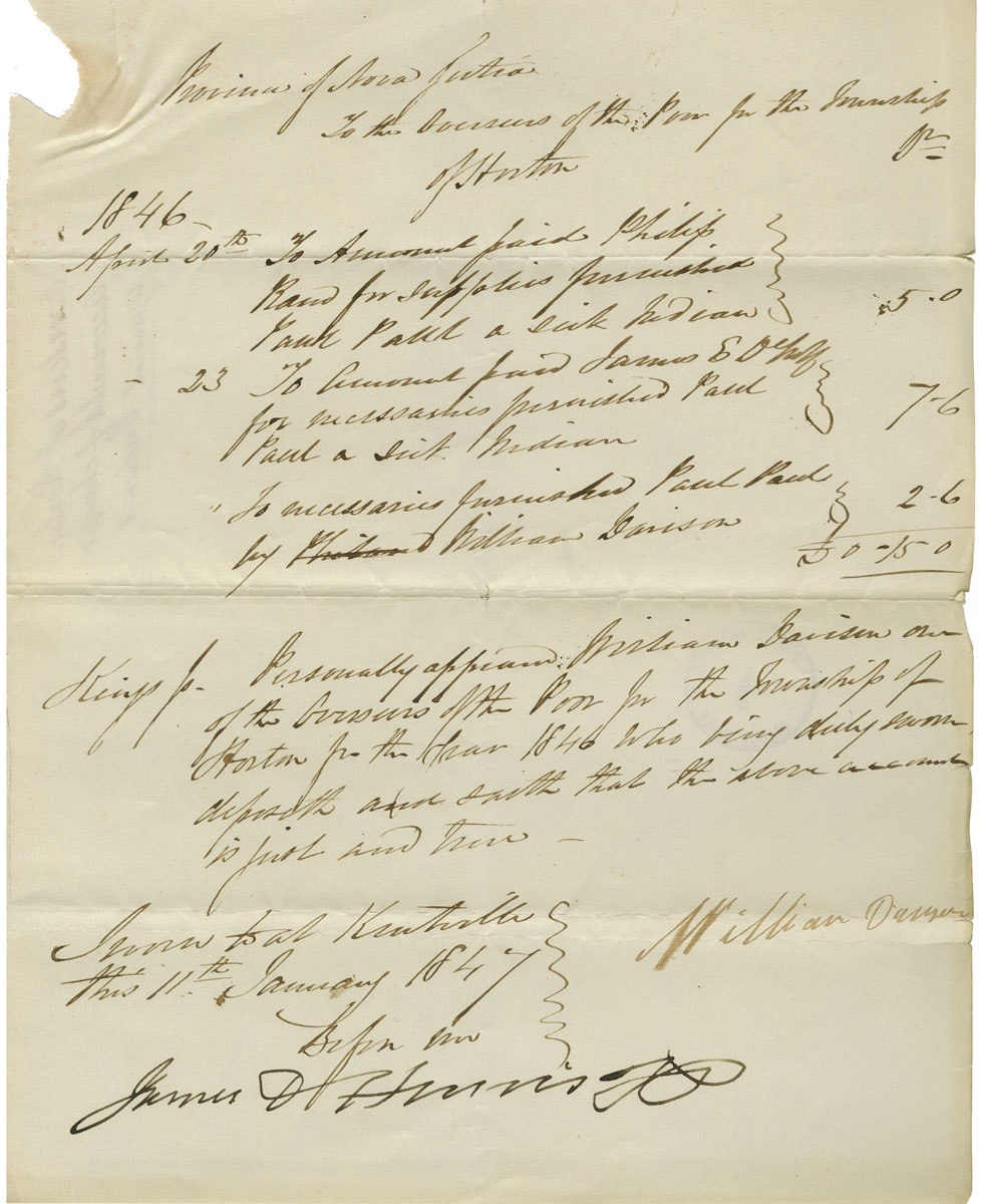 Petition of the Overseers of the Poor of Horton for reimbursement in aiding a sick Mi'kmaq man named Paul Paul. Supporting documents attached.