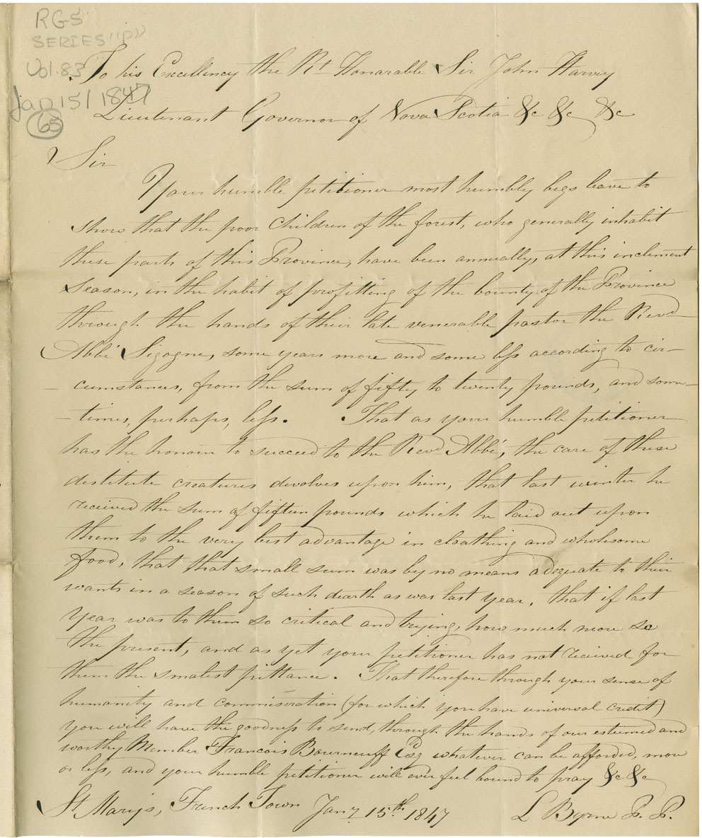 Letter from L. Byrne of French Town, Clare, to the Lt. Gov. for funds to aid the
