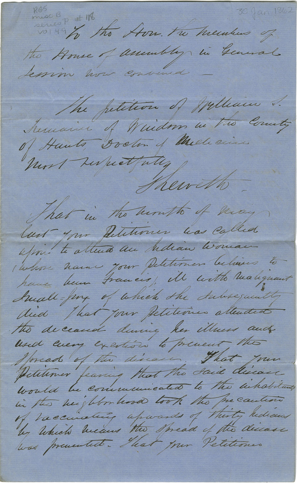 Petition of William S. Tremain of Windsor for payment of the expenses on a sick Mi'kmaq woman.