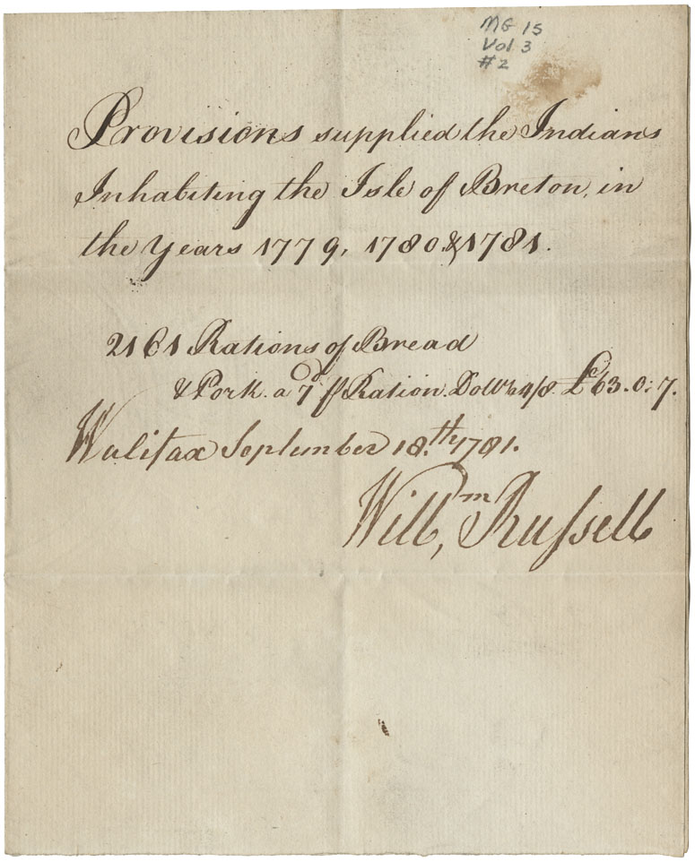 William Russell. Provisions supplied to the Mi'kmaq inhabiting the Isle of Breton in the years 1779, 1780, 1781.