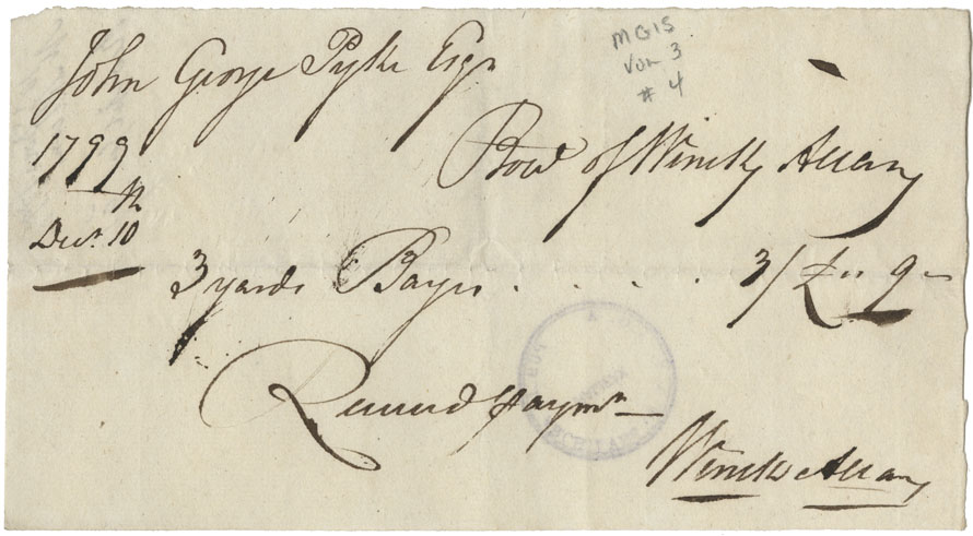 Receipt of W. Allen for payment of £3/9.