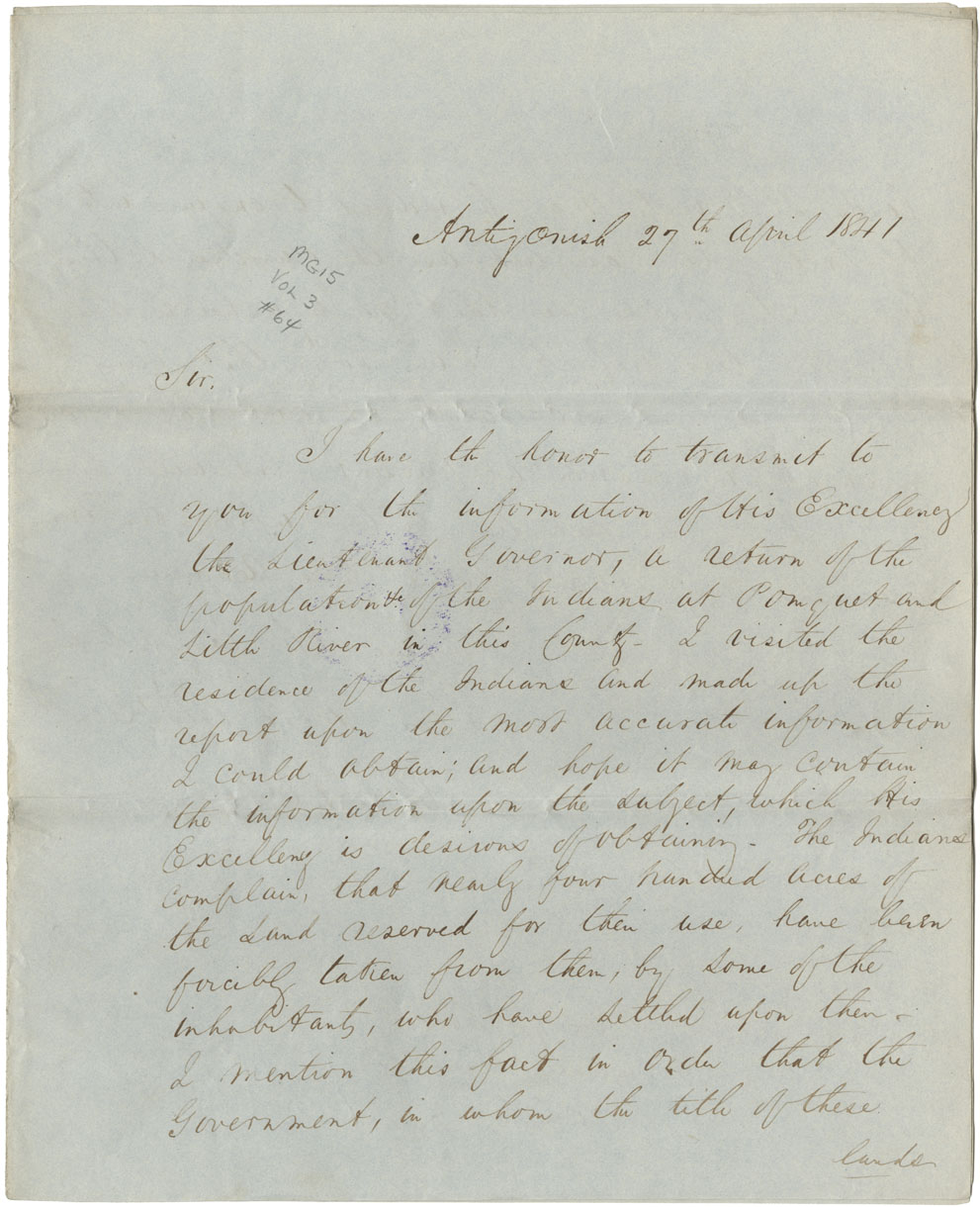 Letter from W. Henry to Rupert George reporting on population of the Mi'kmaq in the county of Sydney, with a petition to W.M. Dodd for help from the Eskasoni Mi'kmaq and a list and number of inhabitants.