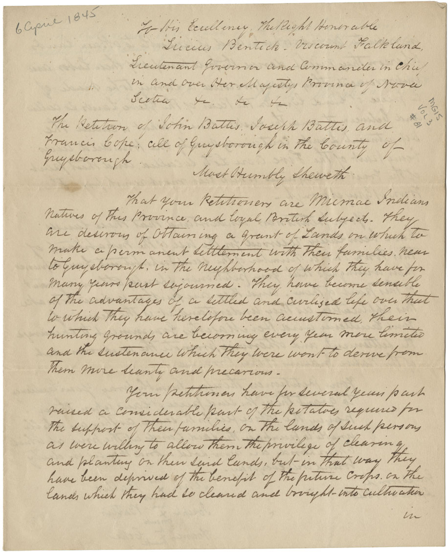 Petition to Lord Falkland from Joseph Battis, John Battis and Francis Cope for a piece of land adjoining the town at Guysborough.