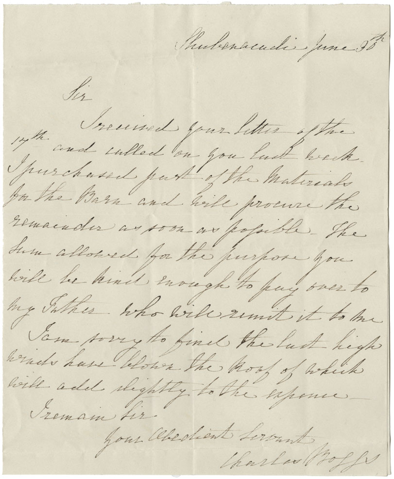 Petition of Charles Boggs, Shubenacadie, requesting that the £25-0-0 that he is to expend for the building of a barn for the Mi'kmaq, may now be sent to him. Related correspondence.